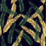 Vector infinite pattern of palm leaves. Seamless summer pattern. On dark background royalty free illustration