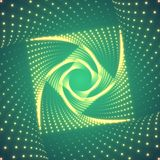 Vector infinite rhombic or square twisted tunnel of shining flares on green background. Stock Photo