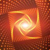 Vector infinite rhombic or square twisted tunnel of shining flares on red background. Glowing points form tunnel sectors Royalty Free Stock Photography