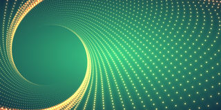 Vector infinite round twisted tunnel of shining flares on green background. Glowing points form tunnel. Abstract cyber colorful background. Elegant modern Stock Photography