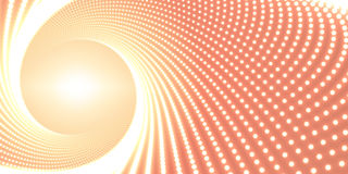 Vector infinite round twisted tunnel of shining flares on orange background. Glowing points form tunnel. Royalty Free Stock Image