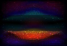 Vector infinite space background. Matrix of glowing stars with illusion of depth and perspective. Abstract wave energy, fantasy space. Futuristic universe. Sci stock images