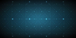 Vector infinite space background. Matrix of glowing stars with illusion of depth and perspective. Royalty Free Stock Photography