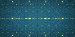 Vector infinite space background. Matrix of glowing stars with illusion of depth and perspective. Royalty Free Stock Image