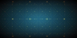 Vector infinite space background. Matrix of glowing stars with illusion of depth and perspective. Stock Image