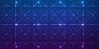 Vector infinite space background. Matrix of glowing stars with illusion of depth and perspective. Stock Photography