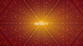 Vector infinite space background. Matrix of glowing stars with illusion of depth, perspective. Royalty Free Stock Photography