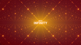 Vector infinite space background. Matrix of glowing stars with illusion of depth, perspective. Stock Images