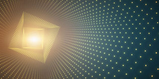 Vector infinite square twisted tunnel of shining flares on green background. Glowing points form tunnel. Abstract cyber colorful background. Elegant modern Royalty Free Stock Images