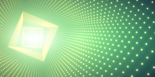 Vector infinite square twisted tunnel of shining flares on green background. Glowing points form tunnel. Royalty Free Stock Photo