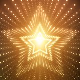 Vector infinite star tunnel of shining flares on orange background. Glowing points form tunnel sectors. Stock Images