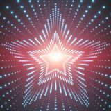Vector infinite star tunnel of shining flares on red background. Glowing points form tunnel sectors. Royalty Free Stock Image