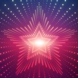 Vector infinite star tunnel of shining flares on violet background. Glowing points form tunnel sectors. Royalty Free Stock Images
