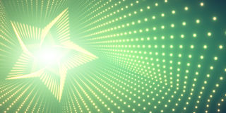 Vector infinite star twisted tunnel of shining flares on green background. Glowing points form tunnel. Stock Images