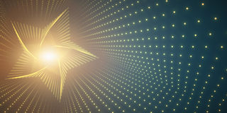 Vector infinite star twisted tunnel of shining flares on green background. Glowing points form tunnel. Stock Photography