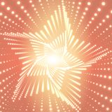 Vector infinite star twisted tunnel of shining flares on orange background. Glowing points form tunnel sectors.  Stock Photos