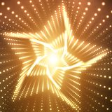 Vector infinite star twisted tunnel of shining flares on orange background. Glowing points form tunnel sectors. Royalty Free Stock Photography