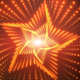 Vector infinite star twisted tunnel of shining flares on red background. Glowing points form tunnel sectors. Stock Photography