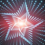 Vector infinite star twisted tunnel of shining flares on red background. Glowing points form tunnel sectors. Royalty Free Stock Image