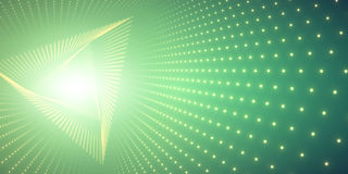 Vector infinite triangle twisted tunnel of shining flares on green background. Glowing points form tunnel. Stock Image