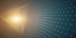 Vector infinite triangle twisted tunnel of shining flares on green background. Glowing points form tunnel. Abstract cyber colorful background. Elegant modern Stock Image
