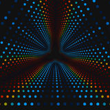 Vector infinite triangular tunnel of colorful circles on dark background. Spheres form tunnel sectors. Royalty Free Stock Image