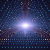 Vector infinite triangular tunnel of colorful circles on dark background. Spheres form tunnel sectors. Stock Photo