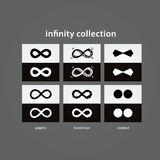 Vector infinity collection. 6x vector infinity in light and dark. Version. conceptual, iconic, symbolic elements for your presentation royalty free illustration