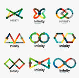 Vector infinity logo set, flat colorful icons Stock Images