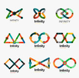 Vector infinity logo set, flat colorful icons Stock Photos