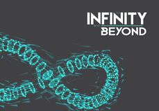 Vector Infinity Symbol. Illustration of Vector Infinity Symbol. To Infinity and Beyond Wireframe Mesh Futuristic Background. Limitless Eternity Icon Made from Royalty Free Stock Photos