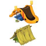 Vector inflatable boat, oars, and shelter of straw Stock Photos