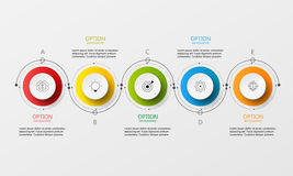 Vector Info-graphic circle paper step. Color link option Vector Illustration