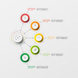 Vector Info-graphic circle paper step. Color link option Royalty Free Stock Images