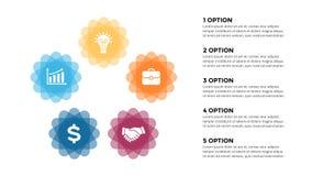 Vector infographic, диаграмма цикла, ярлыки диаграмма, диаграмма представления стикеров Концепция дела с 5 вариантами, частями иллюстрация штока