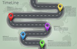 Vector infographic карта мира, план временной последовательности по дороги Стоковое фото RF