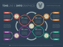 Vector infographic процесса образования на темной предпосылке Веб Стоковая Фотография