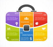 Vector infographic aktentas Malplaatje voor zakdiagram, grafiek, presentatie, ronde grafiek Bedrijfsberoeps Stock Afbeeldingen