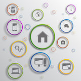 Vector infographic background design. Vector background design with different icons royalty free illustration