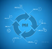 Vector Infographic blueprint cycle template. Vector Infographic blueprint report template made from lines and icons with big cycle icon Royalty Free Stock Photo