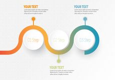 Vector infographic Business element for timeline with 3 steps labels circle ring. With gradient color for each step Royalty Free Illustration