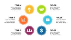 Vector infographic, cicli il diagramma, le etichette il grafico, grafico della presentazione degli autoadesivi Concetto di affari royalty illustrazione gratis