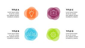 Vector infographic, cicli il diagramma, le etichette il grafico, grafico della presentazione degli autoadesivi Concetto di affari illustrazione di stock
