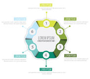Vector infographic circle with six steps. Vector infographic circle design template with six steps vector illustration