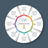 Vector infographic circle template with 8 steps or options. vector illustration