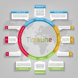 Vector infographic circle timeline template. Vector business presentation infographic workflow, circle timeline planner layout on world map background. Template royalty free illustration
