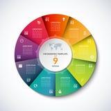 Vector infographic cirkelmalplaatje met 9 opties Stock Foto