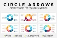 Vector infographic cirkelpijlen, cyclusdiagram of grafiek, 16x9 het cirkeldiagram van de diapresentatie Bedrijfsconceptenmalplaat stock illustratie