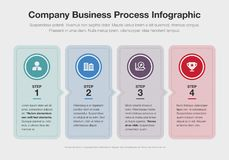 Vector infographic for company business process template with colorful step boxes. Isolated on light background. Easy to use for your website or presentation Royalty Free Stock Photography