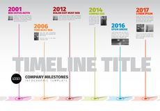 Vector Infographic Company Milestones Timeline Template. With pointers and photos on a straight line vector illustration